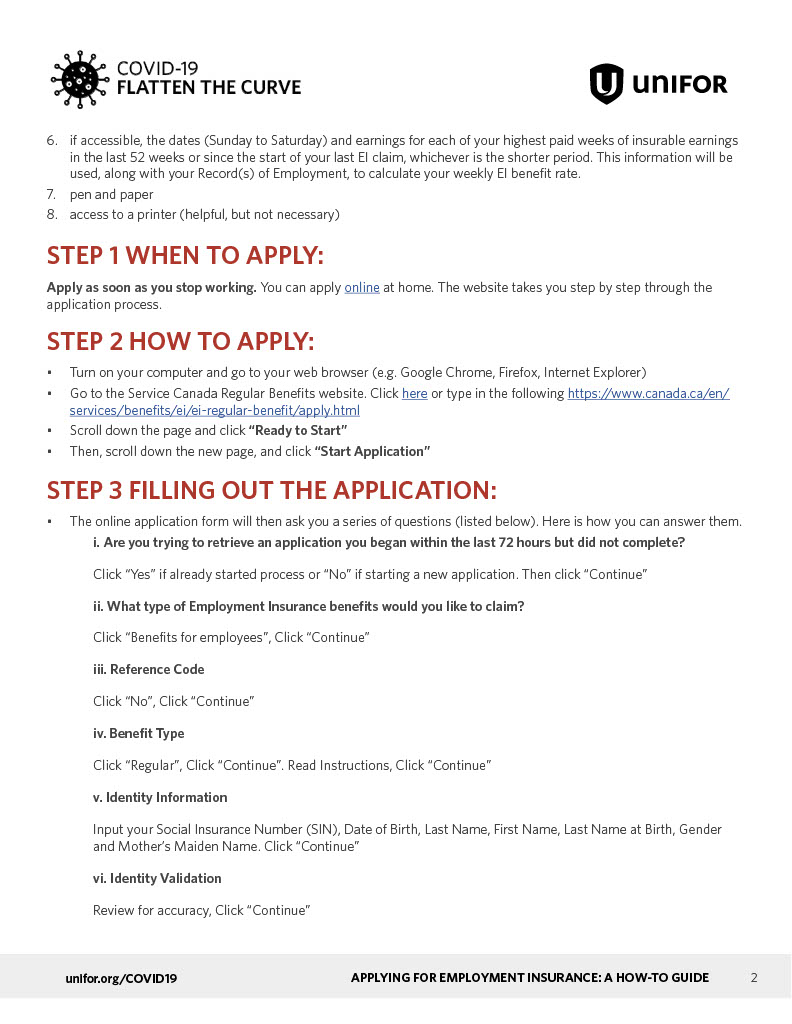 Step 1 Employment Insurance Benefits Application Process For Those On Lay Off April 24th 2020 Update Unifor Local 707