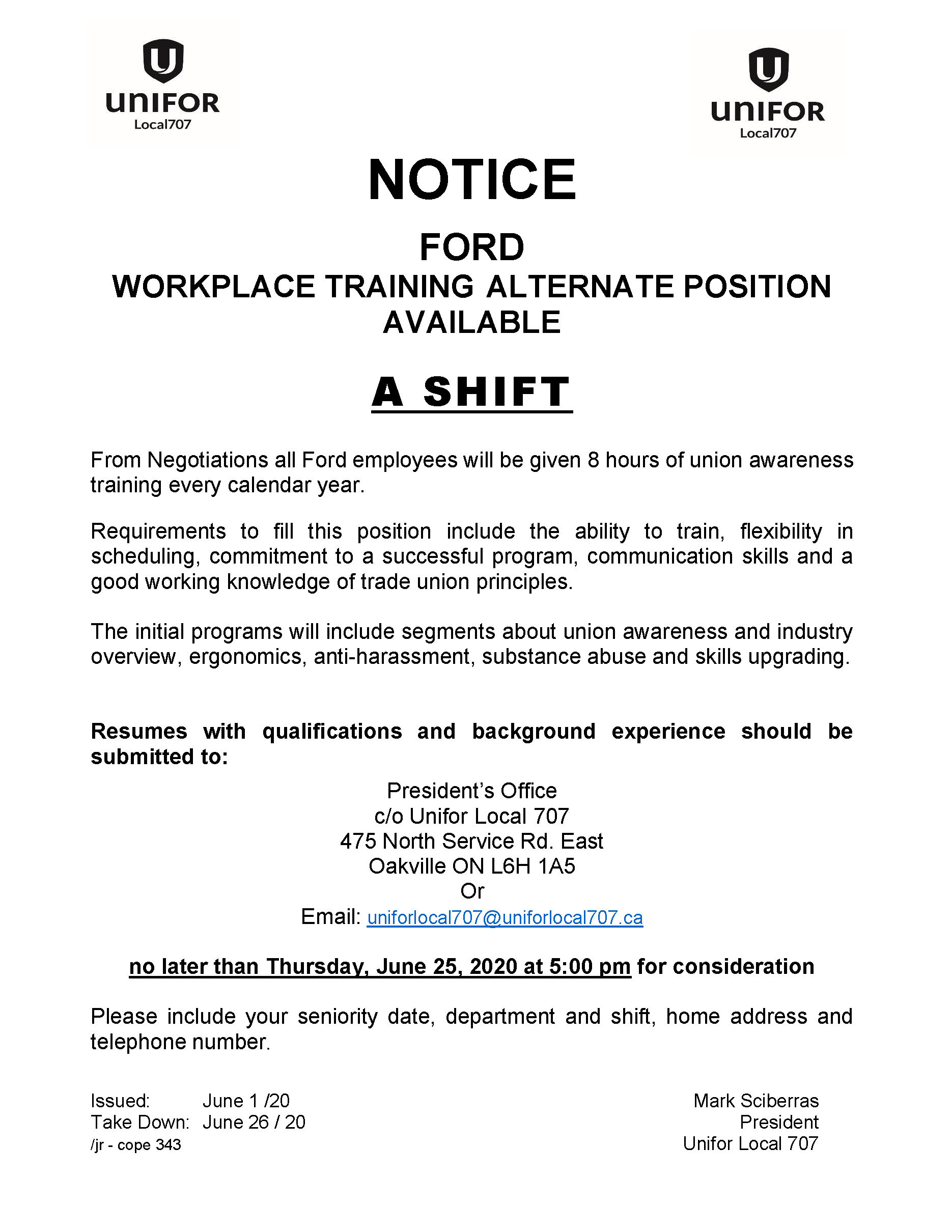 Ford Workplace Training Alternate Position A SHIFT resumes due 2020 JUNE 25